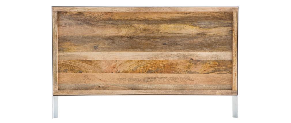 Tête de lit manguier massif et métal blanc 165 cm PUKKA