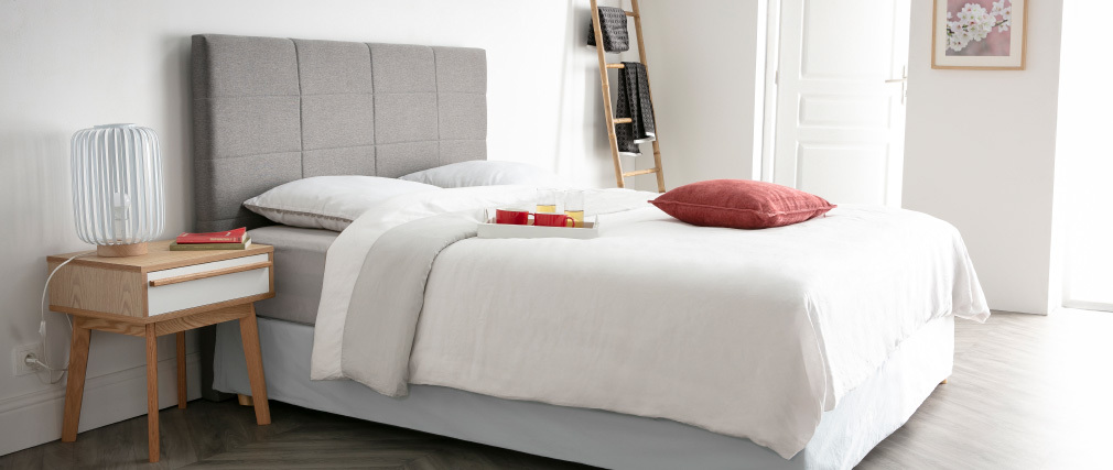 Tête de lit moderne en tissu beige naturel 140 cm ANATOLE