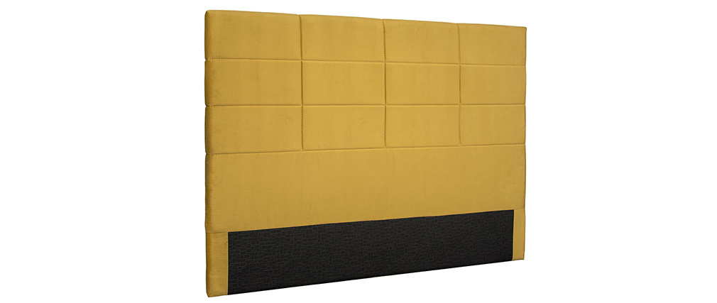 Tête de lit moderne en velours moutarde 160 cm ANATOLE