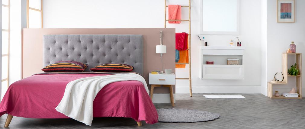 Tête de lit tissu gris clair 160 cm ENGUERRAND